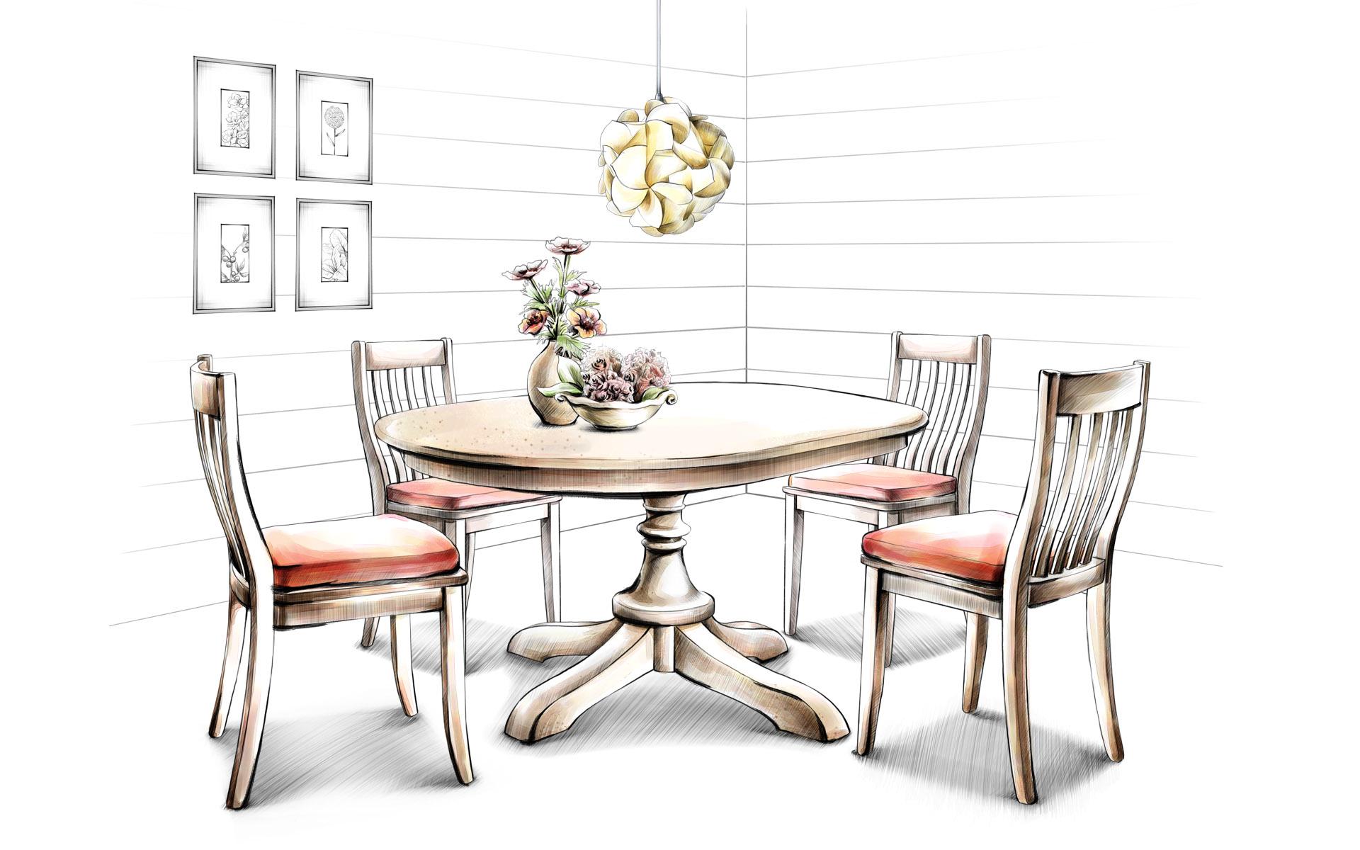 家具单体手绘线稿图片