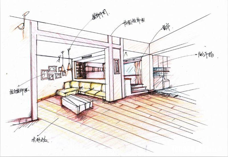 手绘量房户型图